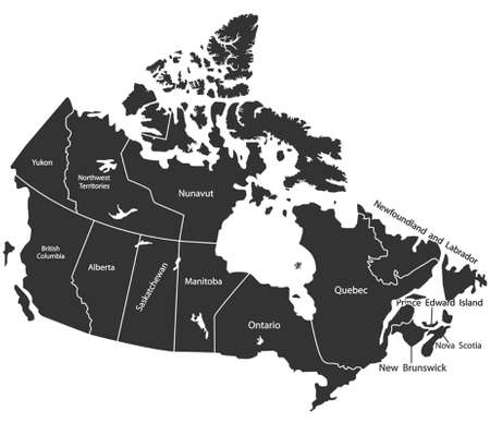 quebec: Detailed vector map of Canada