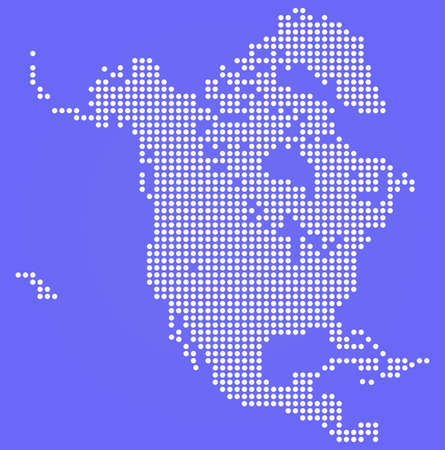 north america map: Dotted North America map on blue Illustration