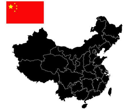 China kaart van china whit de vlag