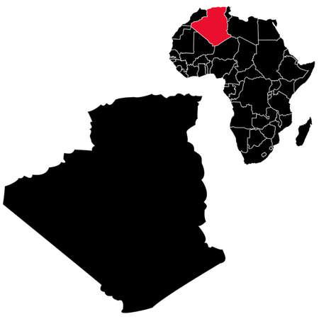 alger: Vector Algeria map sull'Africa Vettoriali