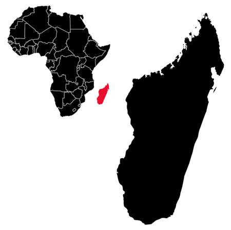 Vector madagascar map on Africa