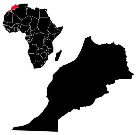 morocco: Vector Morocco map on Africa Illustration