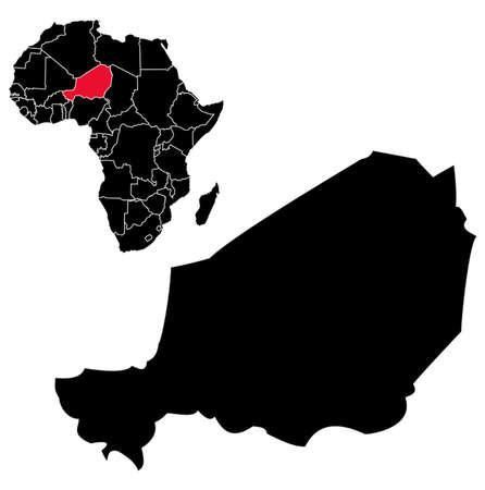 benin: Vector Niger map on Africa Illustration