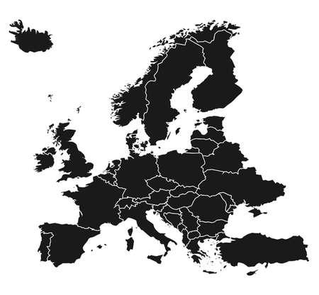 europe map: Map of Europe Illustration