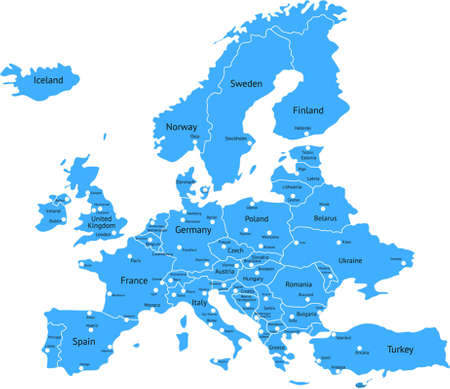 High detailed Europe Map Stock Illustratie