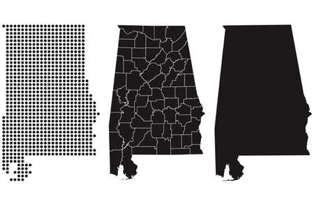 Gestippelde en silhouet staat Alabama kaart