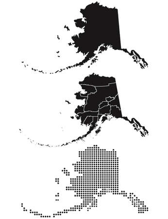 alaska map: Dotted and Silhouette Alaska map Illustration