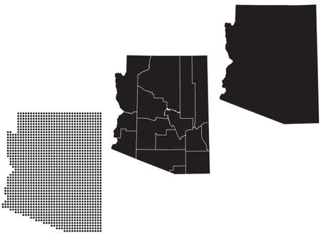 whitern: Dotted and Silhouette State of Arizona map Illustration
