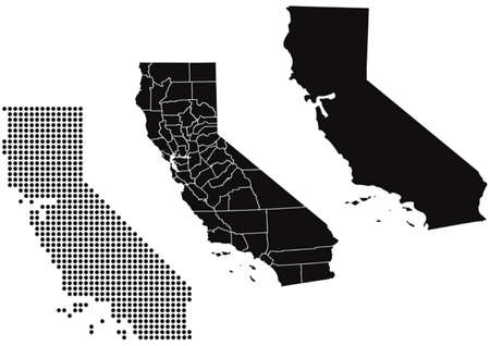 Dotted and Silhouette State of California map