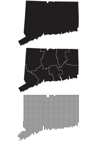 Dotted and Silhouette State of Connecticut map Фото со стока - 36792269