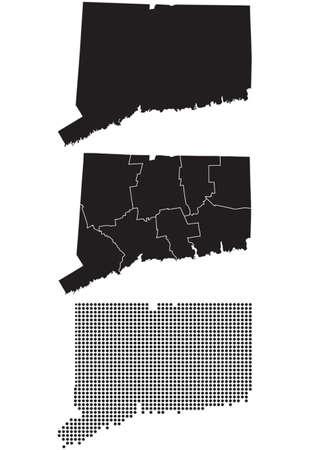 Gestippelde en Silhouette staat Connecticut kaart