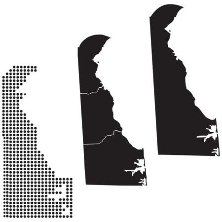 whitern: Dotted and Silhouette State of Delaware map