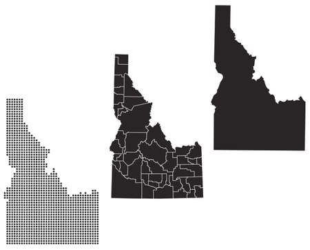 topographical: Dotted and Silhouette idaho map
