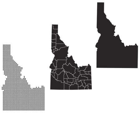 Gestippelde en Silhouette Idaho kaart