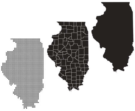 whitern: Dotted and Silhouette illinois map Illustration