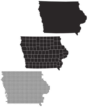 iowa: Dotted and Silhouette iowa map
