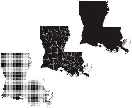 whitern: Dotted and Silhouette State of Louisiana map Illustration