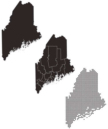 whitern: Dotted and Silhouette Maine map