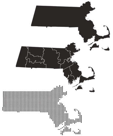 Dotted and Silhouette massachusetts map Illusztráció