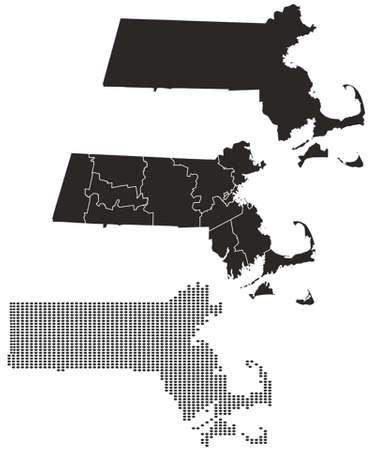 Gestippelde en Silhouette Kaart van Massachusetts