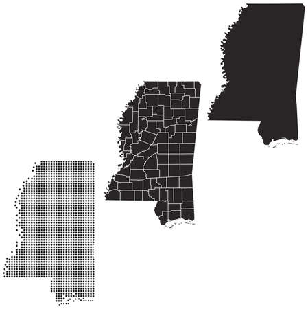 whitern: Dotted and Silhouette mississippi map