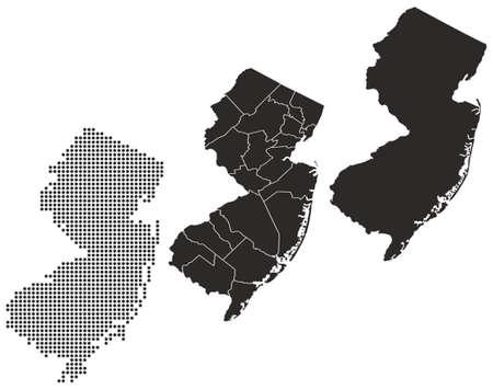 Gestippelde en silhouet New Jersey kaart