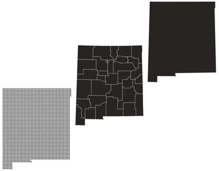topographical: Dotted and Silhouette New Mexico map