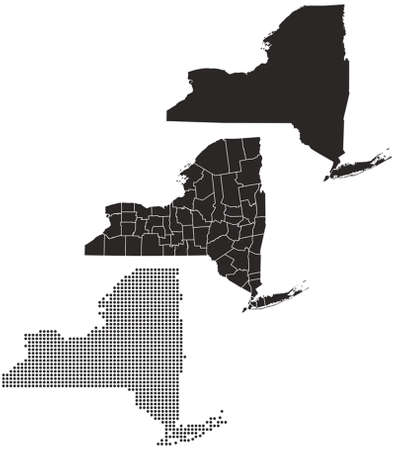 Dotted and Silhouette New york Map