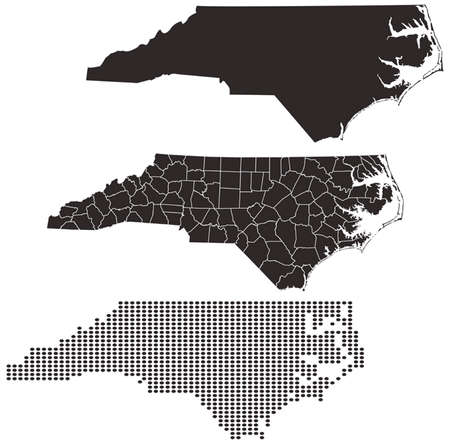 topographical: Dotted and Silhouette North Carolina map