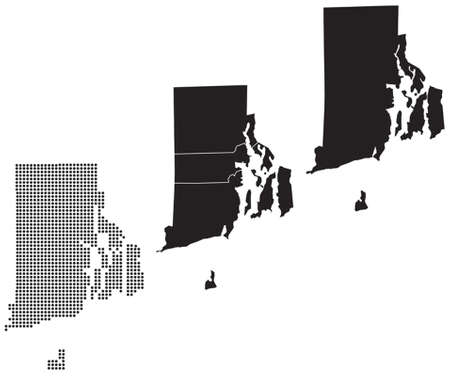 topographical: Dotted and Silhouette map Rhode island