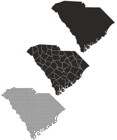 topographical: Dotted and Silhouette South Carolina map