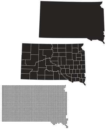 Dotted and Silhouette South Dakota map