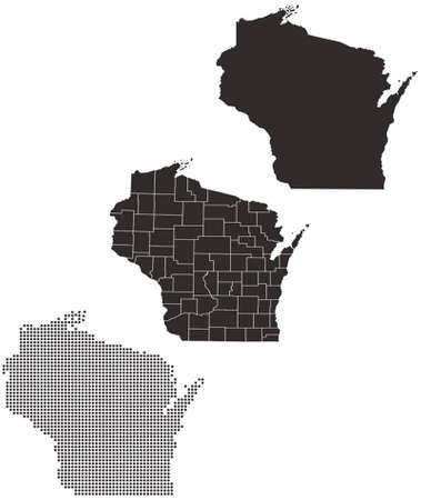 wisconsin: Dotted and Silhouette wisconsin map Illustration