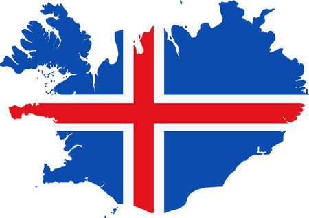 Map and flag of Iceland