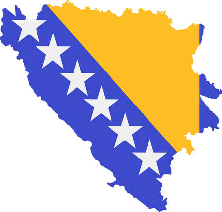 bosnia: Map and flag of Bosnia and Herzegovina