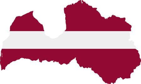 latvia: Map and flag of Latvia