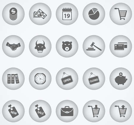 Finance and Shopping Icons Illustration
