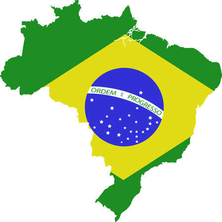 brazil country: map and flag of Brazil