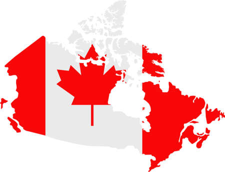 canada flag: Map and flag of Canada Illustration