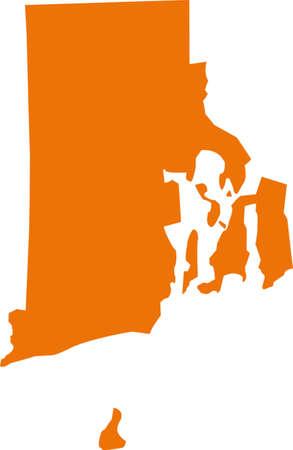 orange county: rhode island map Illustration