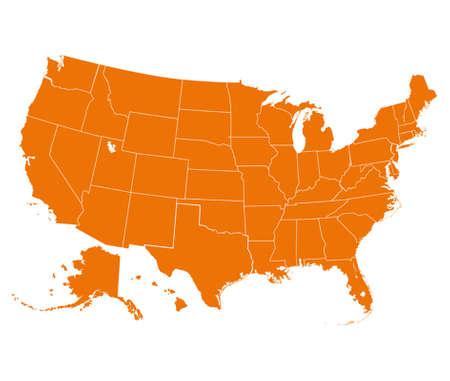 Kaart van de VS in oranje kleur. Vector illustratie.