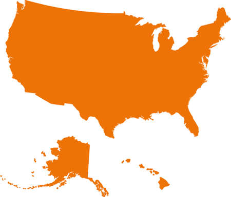 Map of USA in orange color. Vector illustration.