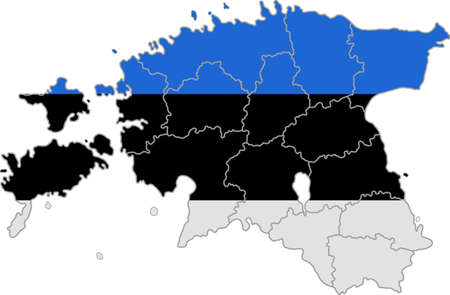 whitern: Map and flag of Estonia Illustration