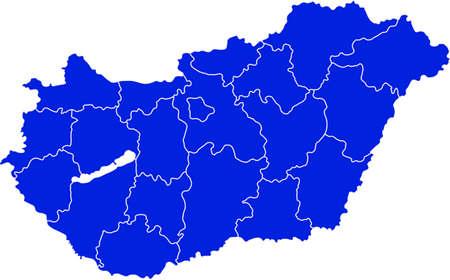 Map of Hungary Ilustração