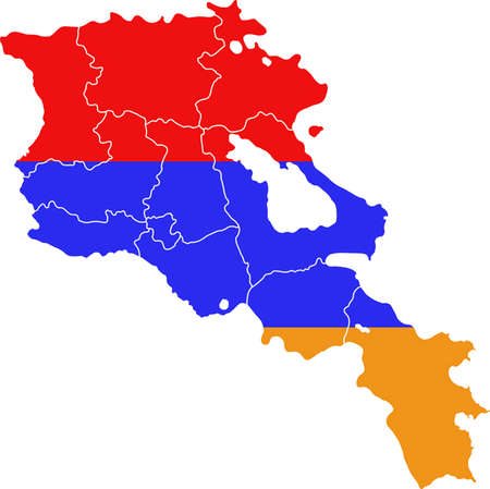yerevan: Map and flag of Armenia