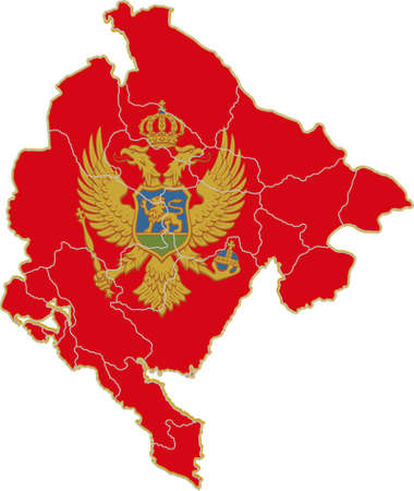 Map and flag of Montenegro