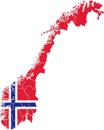 Map and flag of Norway Illusztráció
