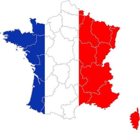 Map and flag of France