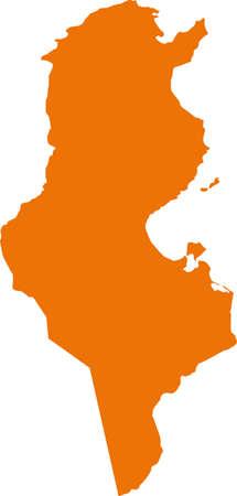 Vector Tunisia map on Africa