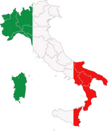 Map and flag of Italy Illusztráció